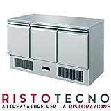 Saladette refrigerata Tavolo refrigerato 3 porte sportelli. Piano di lavoro inox. 136,5x70x85H.