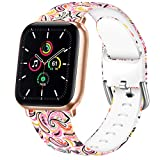Vanjua Floral Bands Compatible with Apple Watch 38mm 40mm 42mm 44mm Soft Silicone Pattern Printed Replacement Wristband Strap Compatible with iWatch Series 6 5 4 3 2 1 (Paisley Pattern, 38mm/40mm-S/M)