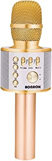 BONAOK Wireless Bluetooth Karaoke Microphone,3-in-1 Portable Handheld karaoke Mic Valentine's Gift Home Party Birthday Speaker Machine for iPhone/Android/iPad/Sony, PC and All Smartphone(Gold)