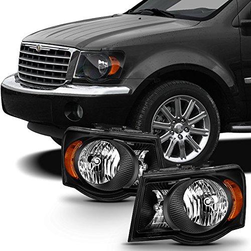 For 2007 2008 2009 Chrysler Aspen Matte Black Headlights Headlamps LH Left & RH Right Side Pair Assembly