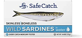 Safe Catch Wild Sardines, Skinless & Boneless, Packed in Water, Mercury Tested, 4.4oz (Pack of 12)