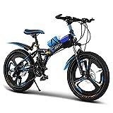 CHHD Bicicleta de montaña Plegable para niños y Adultos de 20/22/24 Pulgadas para Hombres, Mujeres, Antideslizante de 21 velocidades, Adecuada para niños y Adultos Mayores de 10 años