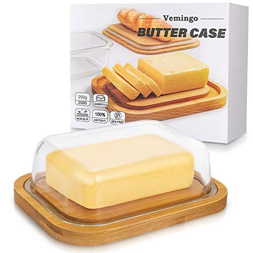 Vemingo Butterdose aus Glas mit...