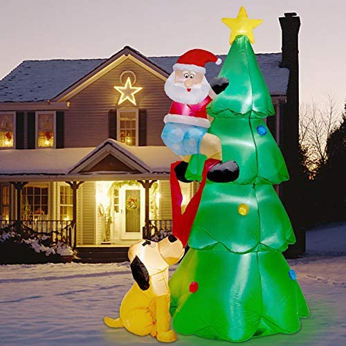 Twinkle Star 7FT Inflatables Lighted Christmas Tree with Santa Claus and Dog Blow Up Cute Indoor product image