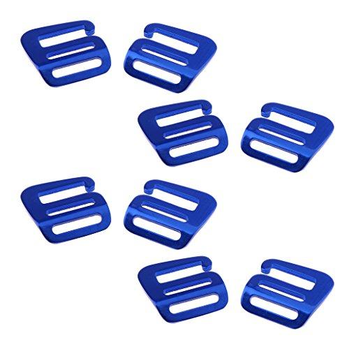 Sharplace 8 Stück Aluminium G Haken Webbing Buckle Rucksack Gurt Band Strap Schnalle 25mm - Blau