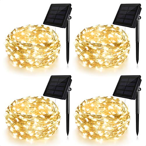 Ankway Solar String Lights Upgraded 100LED 4 Pack Solar Fairy Lights IP65 Waterproof 72ft Copper Wire Lights for Valentines Outdoor Home Bedroom Window Decor, Warm White