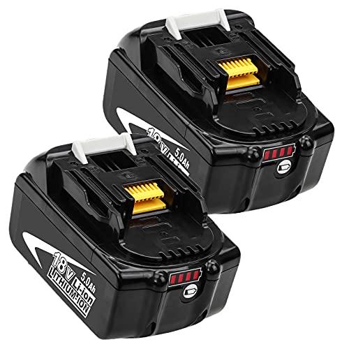 Kengdor 2 Pack 18V 5.0Ah BL1850B sostituzione per Makita 18V Batteria BL1850 BL1860 BL1860B BL1820 BL1830 BL1840 BL1840B BL1845 BL1835 BL1815 con Display a LED