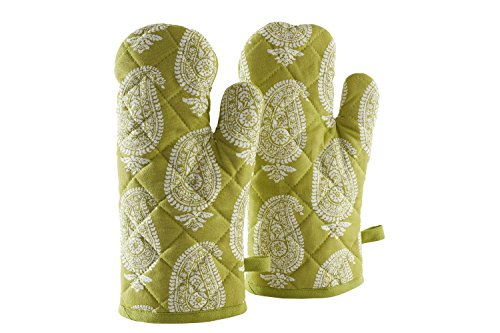 Amazon Brand - Solimo 100% Cotton Padded Oven Gloves, Paisley (Pack of 2, Green)