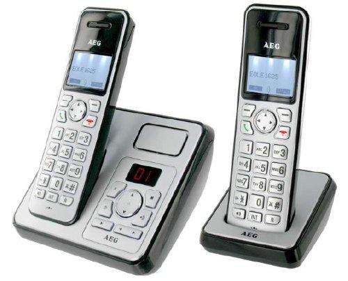 AEG Eole 1625 Duo Schnurloses Eco Logic Telefon inkl. Anrufbeantworter, zusätzlichem Mobilzeil silber