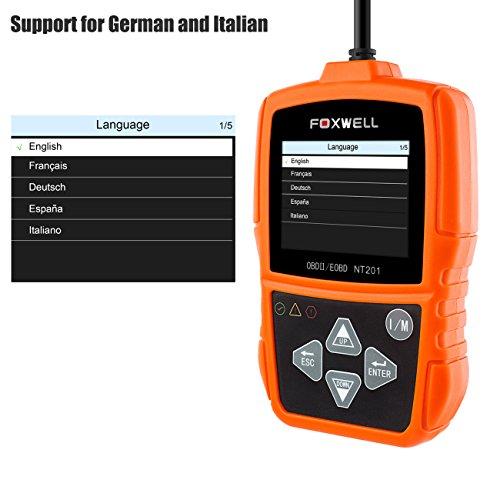 OBD2 Auto KFZ Diagnosegerät OBD II PKW Diagnose Fahrzeug Werkzeug Fehlerspeicher Auslesen OBDII Fehlercode Scanner(Foxwell NT201 Orange)