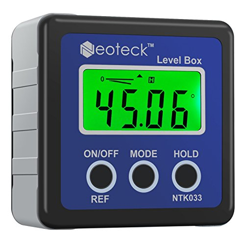 Neoteck Angle Finder Digitale / LCD Goniometro Inclinometro Impermeabile Digitale / Bevel Box Livello Misuratore Angolo Magnetico Auto Spegnimento - Colore Blu