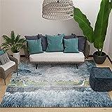 La alfombras Alfombra Lavable Infantil Alfombra de la Sala de Estar del Estilo de la Pintura al óleo de la Tinta del Arte de la Tinta Amarilla Azul Alfombra Chimenea Alfombra Verano 180*250cm