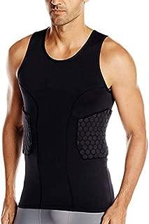 Men's Sleevless Padded Compression Shirt for Football Basketball (Black)