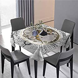 Restaurant Tablecloth Kitchen Tablecloth Alarm Clock with Clouds Holiday Dinner 70 x 70 inch