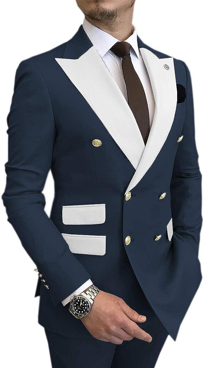 Men's Suit Slim Fit 2 Pieces Formal Double Breasted Dress Suit for Wedding(Blazer+Pants)