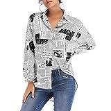 TENDYCOCO Camisa de Mujer de poliéster de Manga Larga, Estilo de Letra Impresa con botón para niña Talla XL (Negro)