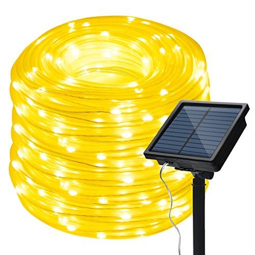 LED Schlauch Lichterkette,IMAGE Wasserdicht 13m 100 LED Solarlichterkette 8 Modi Röhrenlicht Seil Kupferdraht Weihnachtsbeleuchtung Lichter für Hochzeit Garden Party Außenlichterkette(Warmweiß)