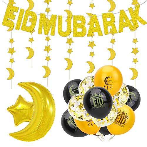 HOWAF Eid Mubarak Decoration Set, Eid Mubarak Banner Latex Balloons and Eid Festival Foil Balloon Star Moon Garland for Home Garden Muslim Ramadan Party Decorations Supplies