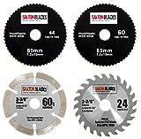 Saxton - Lot de lames de scie circulaire HSS et TCT- 85mm - Worx Worxsaw Bosch Makita Ryobi etc.