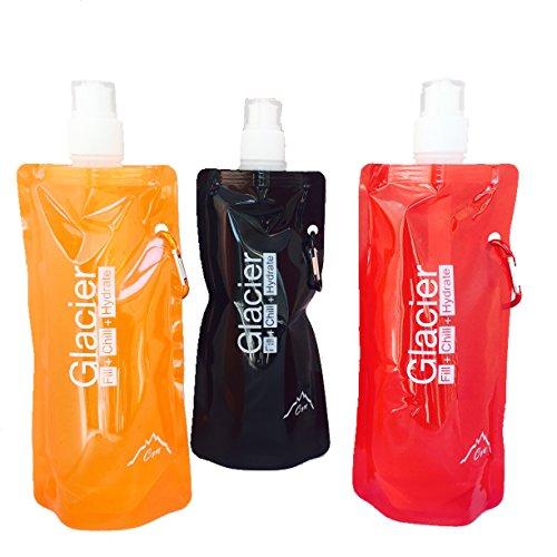 Glacier pliable pliable réutilisable portable congelable sur pied Compact Léger Durable sans BPA bouteille d'eau Best avec sac isotherme Pack de Glace pour camping randonnée Cyclisme Course à Pied Jogging Sport Entraînement Camp d'été ou de voyage