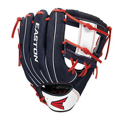 Easton Professional Youth Baseball Glove, 10', RHT, Navy/White/Red, I Web,...
