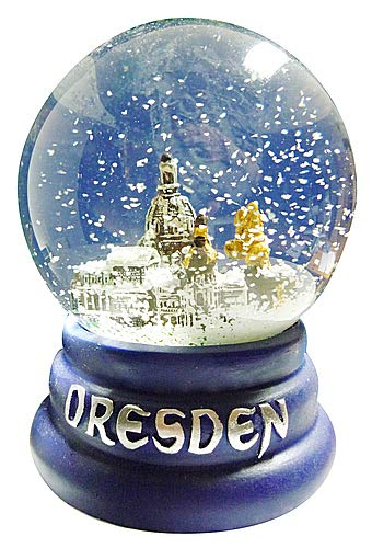 Schneekugel Sehenswürdigkeiten Dresden | Schüttelkugel blau | 6,5 cm