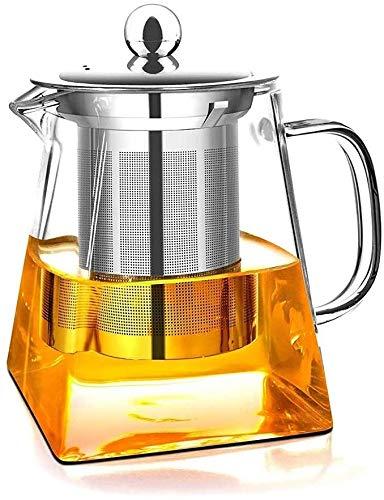 Teiera in vetro trasparente da 550 ml con infusore in acciaio inox resistente al calore, perfetta per tè e caffè (550 ml)