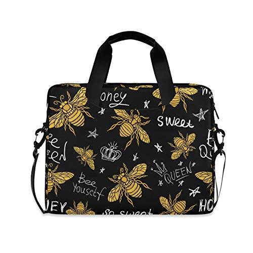 Ombra Laptop Shoulder Bag Gold Bee Quote Portable Laptop Sleeve Case with Strap for 14/15.6/16in Notebook Computer Messenger Bag for Women Men Briefcase