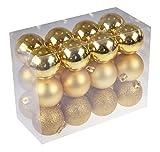 Clever Creations - Set de 24 Bolas para árbol de Navidad - Resistentes a los Golpes - Ideales para Cualquier Estilo Decorativo - Tonos Dorados - 60 mm