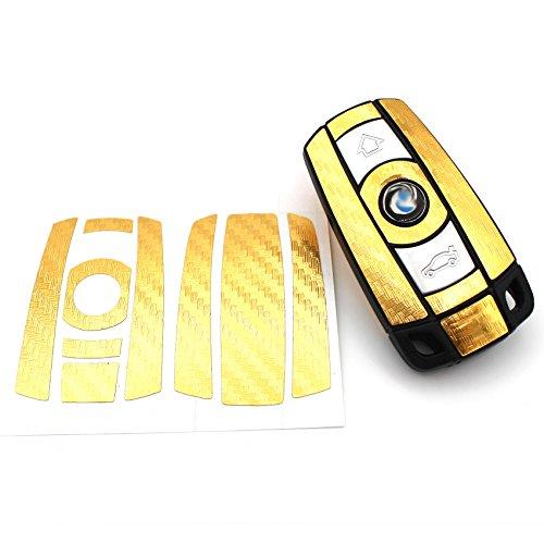 Finest-Folia Schlüssel Folie K141 für 3 Tasten Auto Schlüssel (nur Keyless Go) Folien Cover (Gold Carbon)