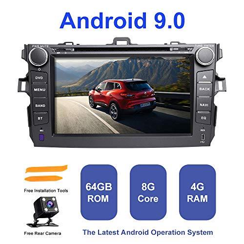 ZLTOOPAI Android autoradio stereo, voor Toyota Corolla 2007-2011 In-Dash GPS-navigatie Android 9.0 Octa Core 4G RAM 64G ROM 7-inch capacitief HD multitouch-beeldscherm auto in-dash GPS-DVD-speler