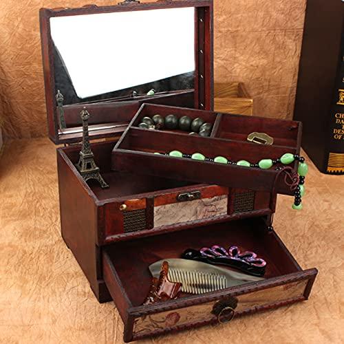 FUFRE Joyero Vintage Madera con Espejo, 3 Capas Caja de Almacenamiento de Joyería Clásica Joyero Madera para Guardar Joyas Pulseras, Adornos de Escritorio (A)