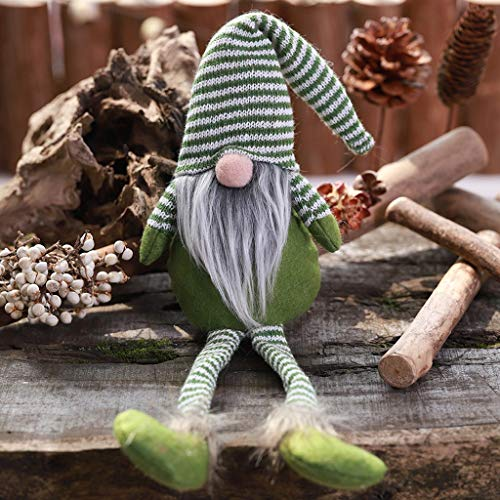 Decoración para el hogar, decoración de Navidad, sombrero a rayas, para colgar la pierna, sin cara, decoración de la habitación #AQ (verde)