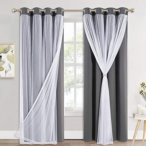 PONY DANCE Blackout Curtains 84 Inches Long - White Sheer Overlay Thermal Insulated Curtains for Living Room, Cortina para Sala (W52 x L84 inch, Grey, One Pair Grommet Drapes, Tie Backs Bonus)