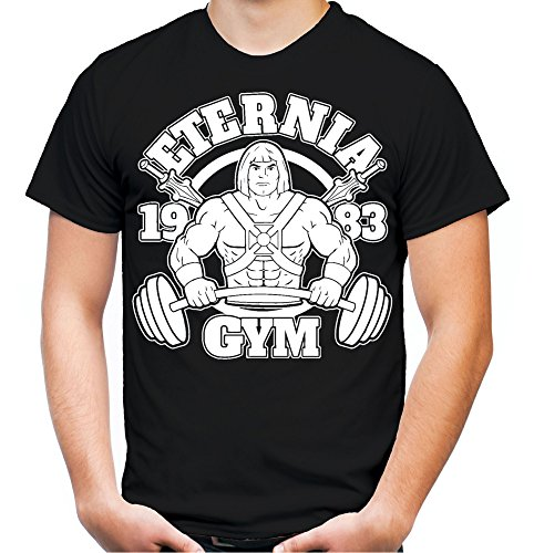 Eternia Gym T-Shirt | Sport | Männer | Herren | MMA | He-Man | Masters of The Universe | Skeletor | Grayskull | Kostüm | Fun (L, Schwarz)