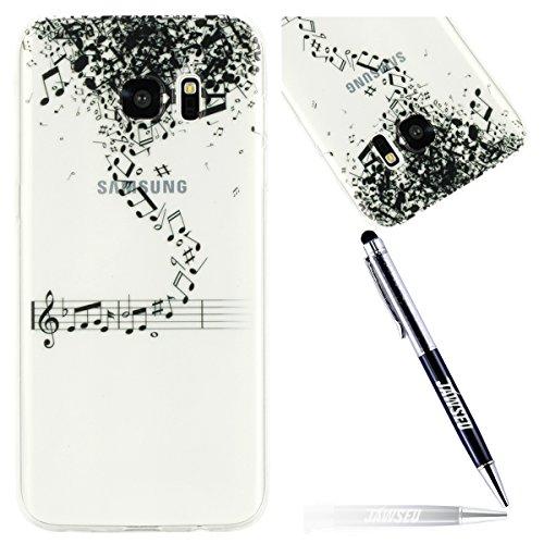 JAWSEU Coque Étui Galaxy S7 Transparent Silicone,Ultra Mince Soft TPU Cristal Clair Housse Coque Mode Belle Lovely Motif Souple Silicone Coque de Protection,#7