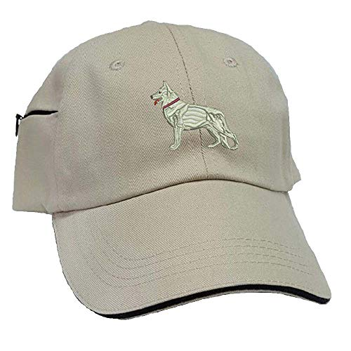 YourBreed Clothing Company German Shepherd White Low Profile Baseball Cap with Zippered Pocket.
