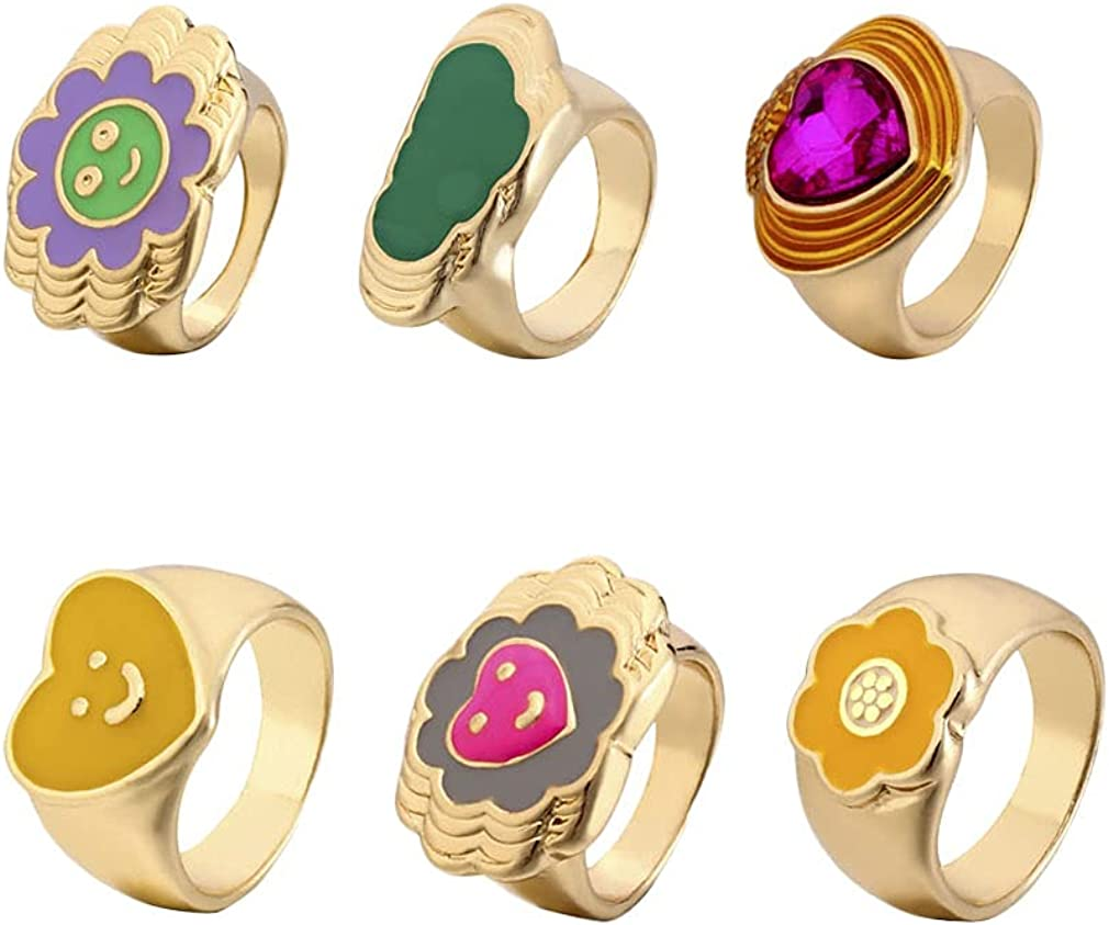 6Pcs Flower Smiley Face Heart Cloud Y2K Rings Chunky Rings, Gold Signet Rings, Aesthetic Gold Plated Rings set, Cute Statement Thick Rings for Women Girls