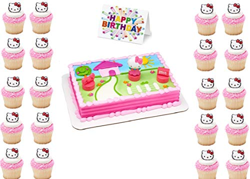 Hello Kitty Stamper Cake Topper Set Cupcake 24 Pieces Birthday Supplies Favors Goodies Plus Birthday Card - 26 Pieces