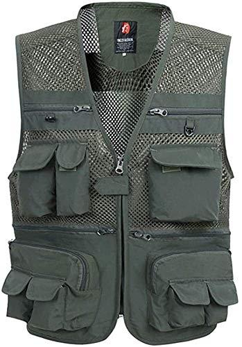 THBEIBEI Chaleco de pesca turismo para acampar viajes chaqueta de múltiples bolsillos al aire libre, camping, fotografía senderismo (color verde militar, tamaño: L (peso corporal 80 kg)