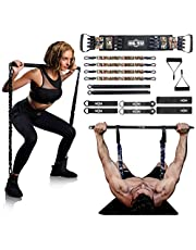 """INNSTAR Weerstand Bands Bar Oefening Bands Attachment 38 """"Zwart Max Load 800 lbs voor Thuis Gym Workout Full Body Workout Power Lifting Fitness Bar"""