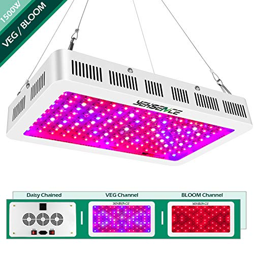 Yehsence 1500w LED Grow Light with Bloom and Veg Switch, (15W LED) Triple-Chips LED Plant Growing Lamp Full Spectrum with Daisy Chained Design for Professional Greenhouse Hydroponic Indoor Plants