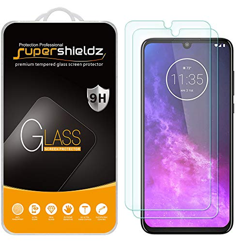 (2 Pack) Supershieldz for Motorola One Zoom and One Pro Tempered Glass Screen Protector, Anti Scratch, Bubble Free