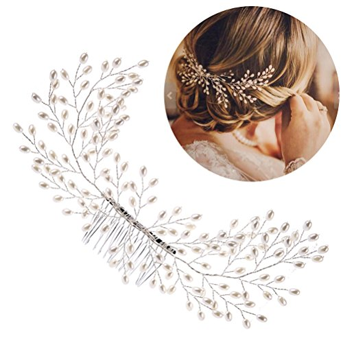 Frcolor Braut Haarkamm, elegante Perlen Hochzeit Haar Kamm handgemachte Hochzeit Haarschmuck