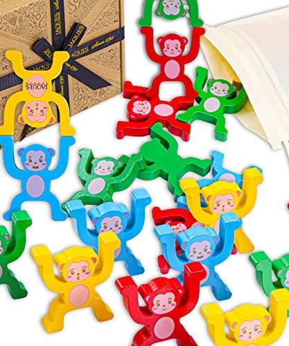 Jaques von London Lassen Sie Uns stapelbare AFFE Spielen holzspielzeug Tiere – Kinder Spielzeug stapeltiere Holz – Ideal Holz Spielzeug 2 3 4 5 6 Jahre seit 1795
