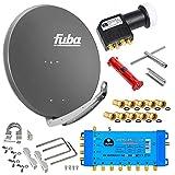 Fuba 8 Teilnehmer Digital SAT Anlage 85cm Schüssel DAA850A Anthrazit + hb-digital UHD 414 S Quattro LNB 0,1dB HDTV 4K + UHD-MS 5/8 Multischalter + Aufdreh-Set + 24 vergoldete F-Stecker Gratis dazu