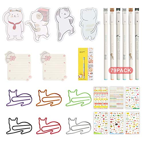 Cat School Supplies-Cat Gel Ink Pens,Cat Paper Clips&Cat Sticky Notes Page Flags Index Tabs with Funny Cat Stickers,Cat Lover Gifts for Women Girl Kids,Kawaii School Office Desk Stationery Set