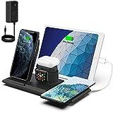「2020年業界最新版」NANAMI 5in1 ワイヤレス充電器 Qi認証 5台同時充電 iWatch充電器収納可能 iPhone 12/12 Pro/12 Mini/SE (第2世代) /11 / 11 Pro / Xs / XR / Xs Max / X / 8 / 8 Plus、Galaxy S20 /S10 / S10+ / S9 / S9+ / S8 / S8+ / Note 10 / Note 9 、AirPods Galaxy Buds 他のQi機種対応 出力36W超強力アダプター付属 7.5W/10W/15W Qiuck Charge 置くだけ充電 ワイヤレス充電スタンド 黒