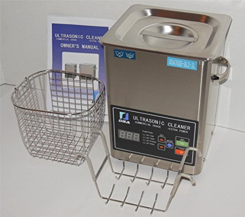 Ultrasonic Cleaner (3L) with Dual Frequency Control, 20khz 40khz, Stainless and Jewelry Steel Basket 3 Liter Tank, 200W Heater for Medical, Dental, Car and Firearm Parts