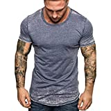 Men's Casual Summer Solid Short Sleeve Crewneck T-Shirt Fashion Hipster Hip Hop Ripped Round Hemline T Shirt Blue